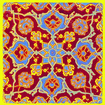 Science Collection Rights Managed Images - Ottoman cuerda seca pottery tile, Turkey, first half of 16th century, by Adam Asar, No 18 Neon art b Royalty-Free Image by Ahmet Asar