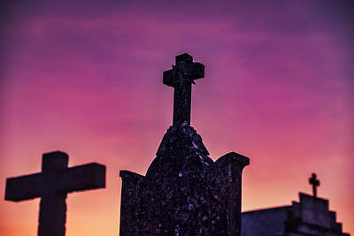 Photograph - Ourem Cemetery Crosses Sunset - Portugal by Stuart Litoff