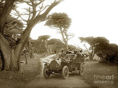 Photograph - Touring Car On The 17 Mile Drive, Pebble Beach, Californiacirca 1910 by California Views Archives Mr Pat Hathaway Archives