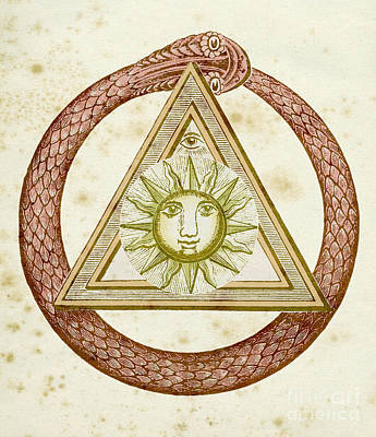 Drawing - Ouroboros, Delta, And The Divine Eye With The Sun, From The Kneph by English School