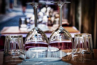 Photograph - Outdoor Restaurant Place Setting - Lisbon by Stuart Litoff