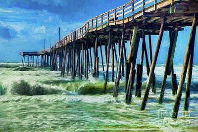 Painting - Outer Banks Frisco Pier Ap by Dan Carmichael