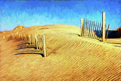 Painting - Outer Banks Sand Dune Fence Ap by Dan Carmichael