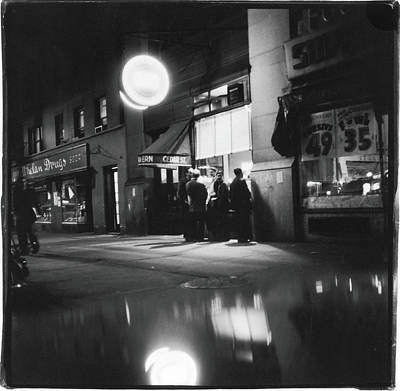 Talking Photograph - Outside The Cedar Street Tavern by Fred W. McDarrah