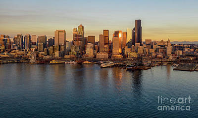 Skylines Royalty-Free and Rights-Managed Images - Over Seattle The Golden Skyline by Mike Reid