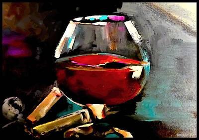 Digital Art - Overfill Snifter Of Brown Spirits  by Lisa Kaiser