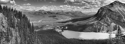 Photograph - Overlooking Lake Louise And The Chateau Black And White by Adam Jewell