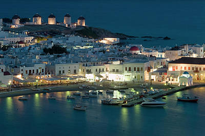 Mykonos Photograph - Overview Of Town And Harbor At by Garry Black