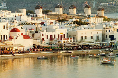 Mykonos Photograph - Overview Of Town And Harbor At Sunset by Garry Black