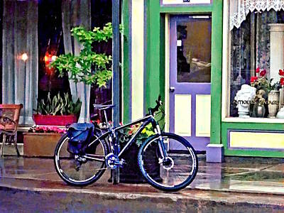 Photograph - Owego Ny - Bicycle Parked On Rainy Street by Susan Savad