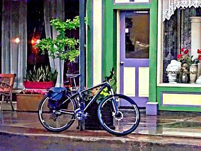 Photograph - Owego Ny - Bicycle Parked On Rainy Street by Susan Savad