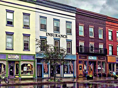 Photograph - Owego Ny - Rainy Evening On Front Street by Susan Savad