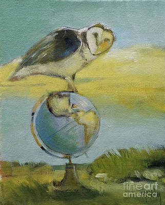 Painting - Owl And The Globe Study by Mary Hubley