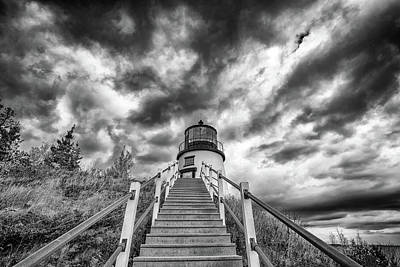 Photograph - Owls Head Lighthouse In Black And White by Rick Berk