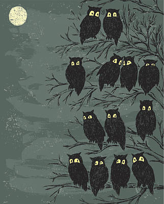 Digital Art - Owls On A Tree by Mubai