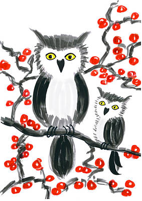 Painting - Owls On Cherry Tree by Steven Clarke