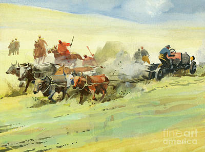Painting - Oxen Pulling A Car  by Ferdinando Tacconi