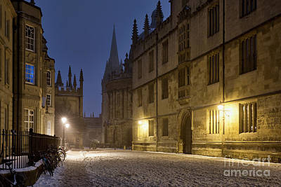 Photograph - Oxford Catte Street Winters Night by Tim Gainey