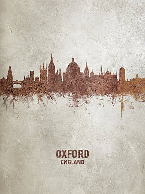 Digital Art - Oxford England Rust Skyline by Michael Tompsett