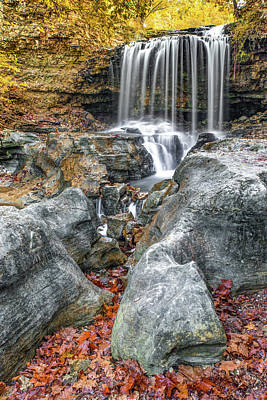 Photograph - Ozark Mountain Autumn Waterfall - Tanyard Creek Bella Vista by Gregory Ballos