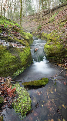 Landscapes Royalty-Free and Rights-Managed Images - Ozark Mountain Waterfall - Vertical Panoramic Arkansas Landscape by Gregory Ballos