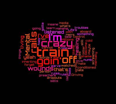 Digital Art - Ozzy Osbourne - Crazy Train Lyrical Cloud by Susan Maxwell Schmidt