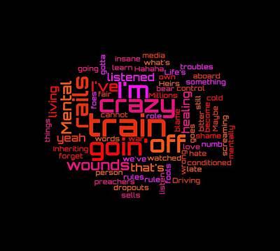 Digital Art - Ozzy Osbourne - Crazy Train Lyrical Cloud by Susan Maxwell Schmidt