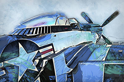 Painting - P-51 Mustang - 27 by Andrea Mazzocchetti