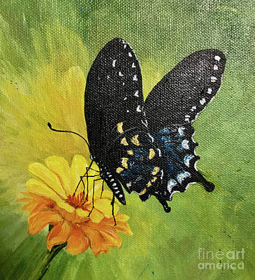Painting - P76 Black Swallowtail On Zinnia by Lizi Beard-Ward