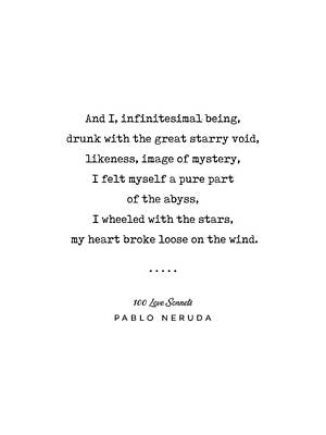 Mixed Media Rights Managed Images - Pablo Neruda Quote 03 - 100 Love Sonnets - Minimal, Sophisticated, Modern, Classy Typewriter Print Royalty-Free Image by Studio Grafiikka