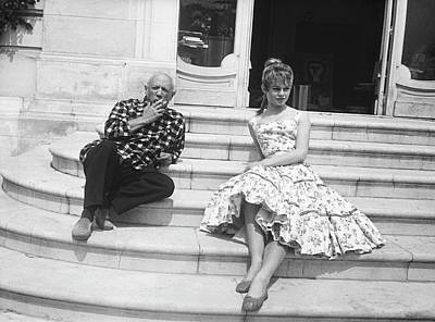 Two People Photograph - Pablo Picasso With Brigitte Bardot by Bettmann