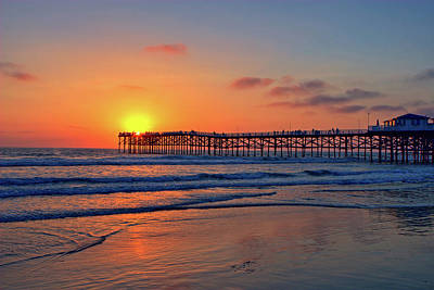 Landscapes Royalty-Free and Rights-Managed Images - Pacific Beach Pier Sunset by Peter Tellone