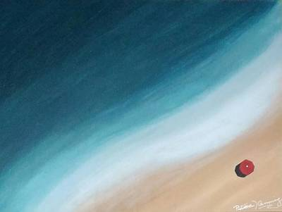 Pacific Ocean And Red Umbrella Art Print