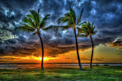 Photograph - Pacific Ocean Sunset Palm Trees Maili Beach Park Pokai Bay Oahu Hawaii Collection Art by Reid Callaway