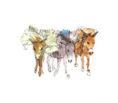 Painting - Pack Burro Watercolor Kathleen Mcelwaine by Kathleen McElwaine