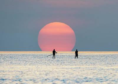 Photograph - Sunrise Paddle Boarding by Steven Sparks