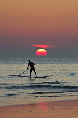 Photograph - Paddle Surfer At Sunset by Paul Mansfield Photography