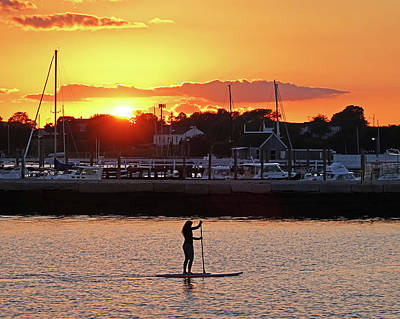 Photograph - Paddling The Newport Harbor At Sunset Newport Ri Rhode Isliand by Toby McGuire