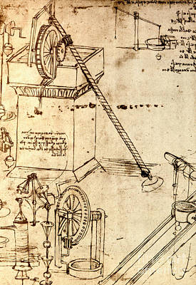 Drawing - Page From The Codex Atlanticus by Leonardo Da Vinci