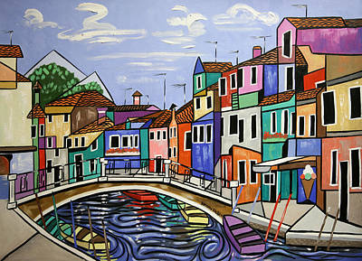 Painting - Painted Buildings Burano Venice by Anthony Falbo