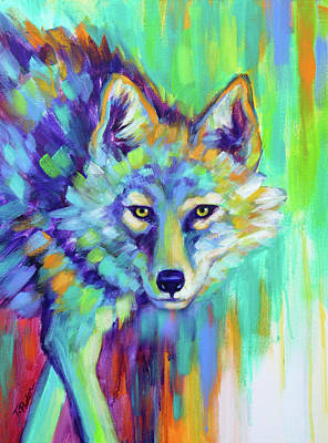 Wall Art - Painting - Painted Desert Coyote by Theresa Paden