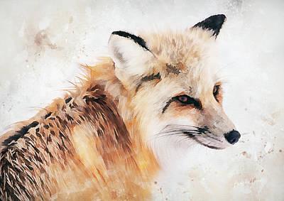 Wall Art - Mixed Media - Painted Fox by Amanda Lakey