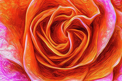 Mixed Media - Painted Rose by Onyonet  Photo Studios