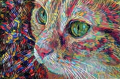 Digital Art - Painterly Ginger Cat by Peggy Collins