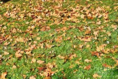 Painting - Painting Of Autumn Leaves On Grass by George Atsametakis