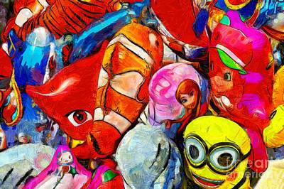 Painting - Painting Of Balloons For Kids II by George Atsametakis
