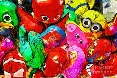 Painting - Painting Of Balloons For Kids IIi by George Atsametakis
