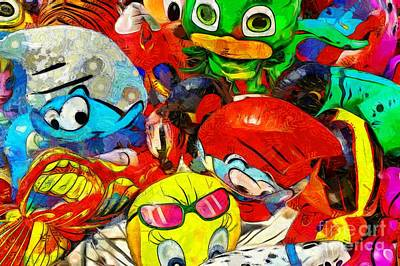 Painting - Painting Of Balloons For Kids Iv by George Atsametakis