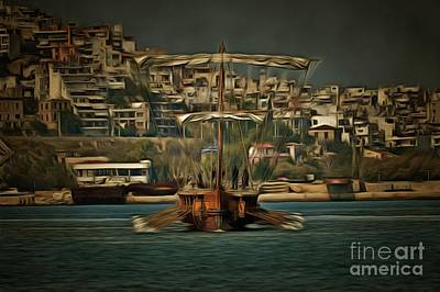 Painting - Painting Of Trireme Olympias II by George Atsametakis