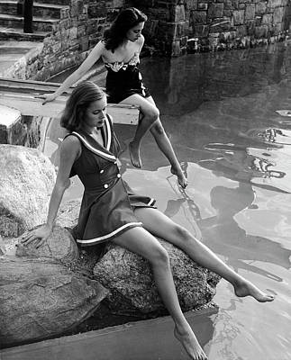 Photograph - Pair Of Models Showing Off New Bathing by Nina Leen